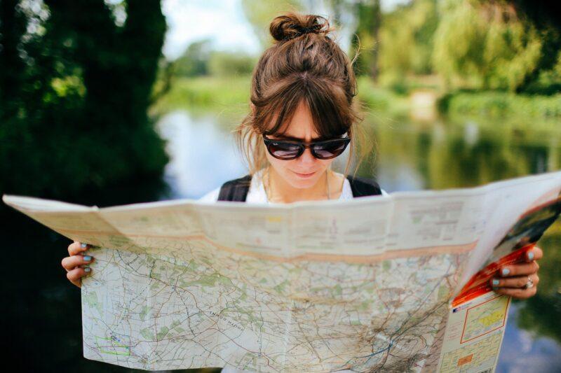 Tourist reading a map