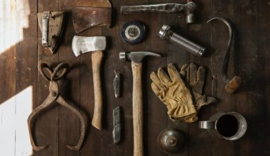 Tools on a wooden surface